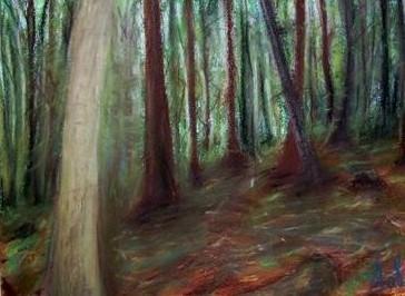 Le sous-bois I.,  Moravie, pastels