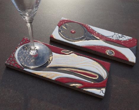 Dessous de verre de dégustation avec touches d'or