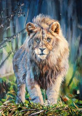 le lion  tableau de peinture sculpté au mortier en 3D sur toile en vente sur mon site