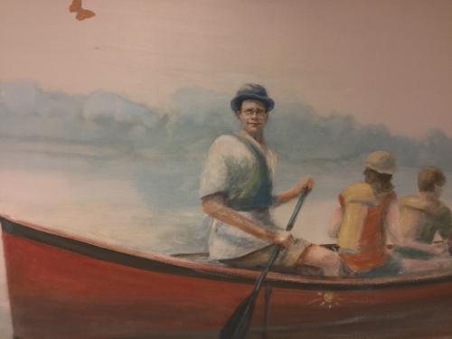 Fresque murale avec portrait