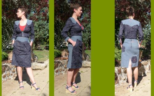 Jupe Kangouroo. Jupe taille haute avec 2 grandes poches sur le devant avec broderie orange. Poche au dos et motif