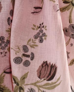 écharpe en mousseline de coton teinte et imprimée aux colorants végétaux , dessin exclusifs fra-joséphine®