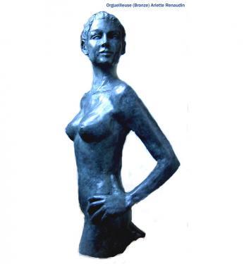 Orgueilleuse Bronze patine bleue 61x31x22 cm