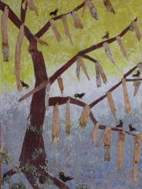 ARBRE PORTE BONHEUR.  Création sur bois & cire  Ecorce de bouleau rouge et bouleau blanc + lichen de 50/37 cm