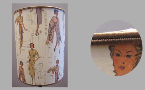 Abat-jour cylindrique confectionné en papier sur le thème