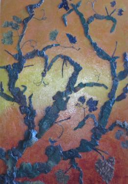 LA VIGNE DU SEIGNEUR - ecorce de platane - de cèdre & feuilles de vigne. 50cm/75 cm