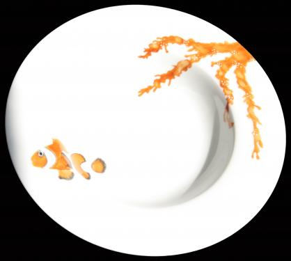 Assiette à soupe motifs de la mer. Référence: Diamètre: Sur commande délais de livraison nous consulter.