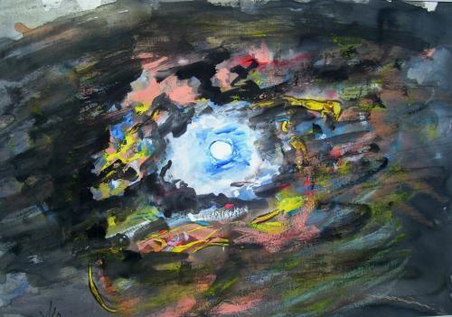 La lune, aquarelle sur papier