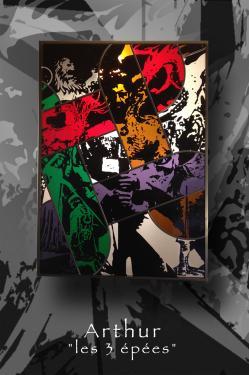 vitrail tableau (suspendu) 50 cm x 70 cm technique traditionnelle et peinture grisaille à main levée verre float et couleur antique sablage Encadrement fer