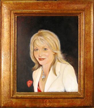 Portrait de femme sur toile réalisé à l'huile avec glacis à l'ancienne.