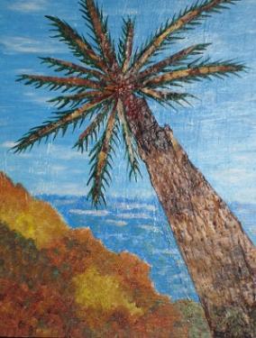 LE PALMIER GUETTEUR - Ecorce de bouleau - Mixte : Acrylique & cire -30 cm / 40 cm.  Le palmier guetteur prolonge des adieux émouvants ; ce n'est pas la présence qu'il prolonge mais le départ !