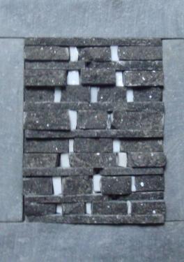 Gisement 5 Mosaïque de pierre bleue et pâte de verre dans cadre  alu de 18x13 cm