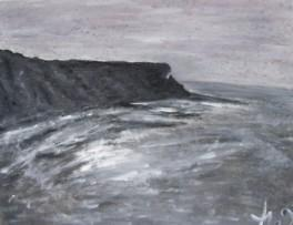 La falaise, Normandie, acrylique sur tole