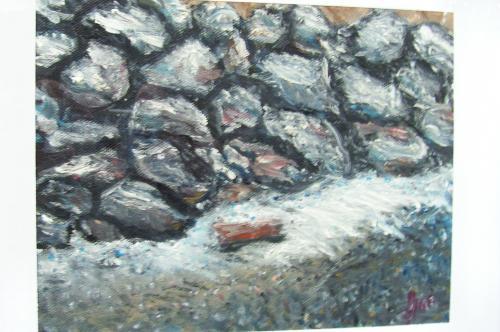 Le mur sur la plage, hiver en Normandie, huile sur toile