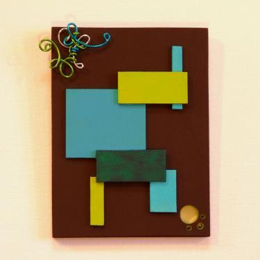 Tableau Chocolat Turquoise Anis Ce tableau est fabriqu� � base de bois MDF chantourn�, peinture acrylique, m�tal d'aluminium, perles en verre teint�es dans la masse. Poids 0,100kgs Dimensions 15x20cm Possibilit� de commander sur mesure et dans les couleurs souhait�es.