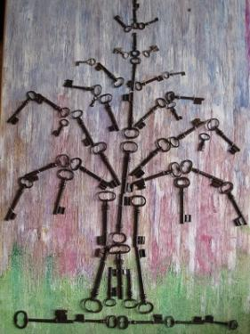 ARBRE DE VIE, réalisée avec des clefs anciennes d'églises du Val de Loir  70/97 cm