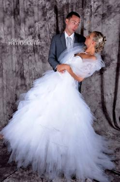 robe de mariée en tulle et taffetas
