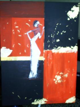Bellissime: tableau sur ch�ssis toil�, peinture acrylique,bande de papier dor�, et feuilles d'or.
