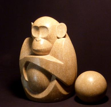 Le penseur pierre de Buxy H:38 cm