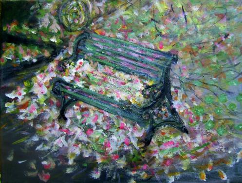 Les feuilles mortes, acrylique sur toile