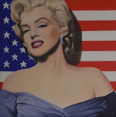 MARILYN L'AMERICAINE  Huile sur toile  80x80 cm.