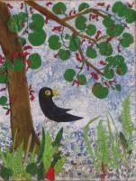 52-CHANTEMERLE sous le bel arbre fleuri - Ecorce d'aulne et feuillage d'arbre de Jud�e - 35 cm/42 cm , NICOLE BOURGAIT THIERRY LE SET DES FLEURS