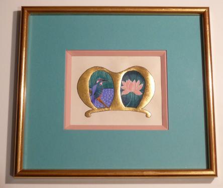 Enluminure lettre M Peinture réalisée sur parchemin véritable Application de feuilles d'or Pigments au jaune d'oeuf (a tempera)