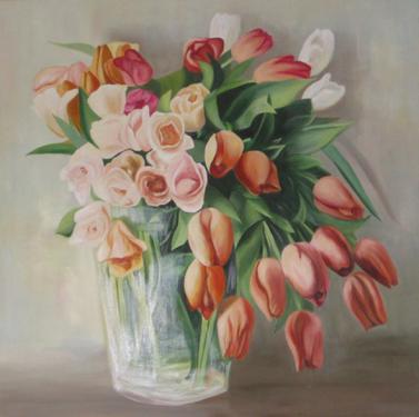 Huile sur toile 80x80 cm: Tulipes oranges