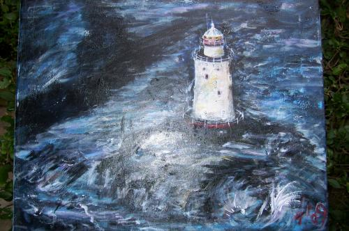 Le phare de Sakonnet, Rhode-Island, acrylique sur tole