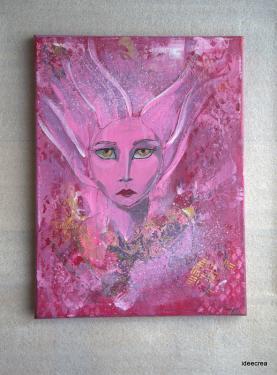 Portrait moderne à l'acrylique-format 30x40cm. Bords peints.