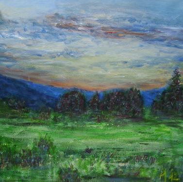 En soir�e, Boh�me du sud, acrylique sur toile