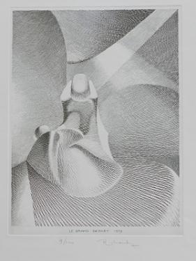 LE GRAND DEPART  Une fleur qui s'épanouit à la lumière ? Une femme qui donne la vie ? Une femme qui meurt ? Une fleur qui s'ouvre vers un grand mystère...  Gravure au burin sur cuivre 37 X 29 cm sur papier velin 250 g/M² 50x65 cm  Gabriel Richard Sculpteur Plasticien 41360 CELLE. 02.54.23.71.68