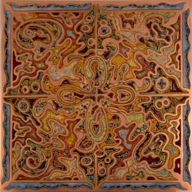 Champlevé vernis  Dimensions 20/20 cm  Encadrement inox et bois