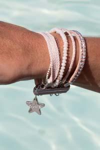 bracelet Manchette à fermoir aimanté, Cristal, cuir & rubans, couleur Nude