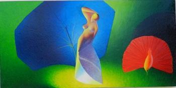 Huile sur Isorel | NAISSANCE DE PAULETTE  Dimensions : 105 x 52 cm  Le prux 1 300 Euros
