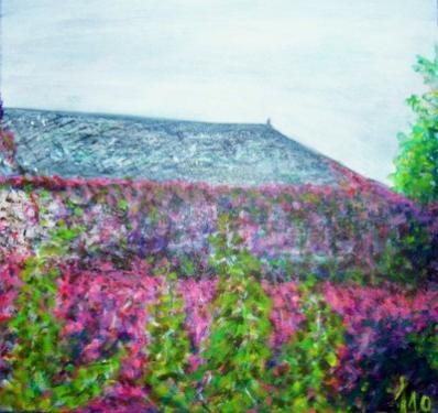 La vigne vierge, Essoyas, acrylique sur toile