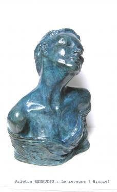 La rêveuse  Bronze patine bleue 32x24x11 cm