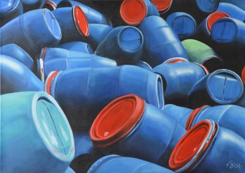 Huile sur toile 50x70 cm: Pollution.