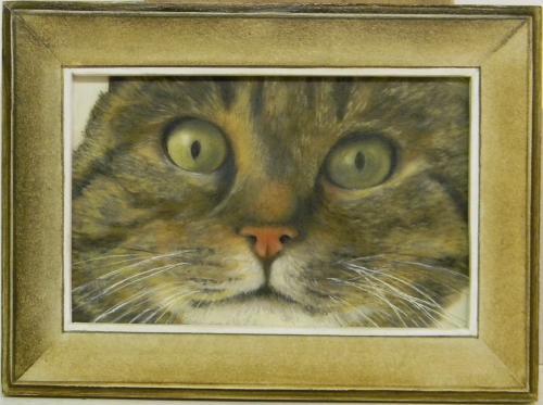 Peinture animali�re � l'huile sur plexi.  Encadrement bois peint et patin� Taille : 18.5 cm x 13.5 cm Certificat d'authenticit� personnalis�. Oeuvre unique. Frais d'envoi offert