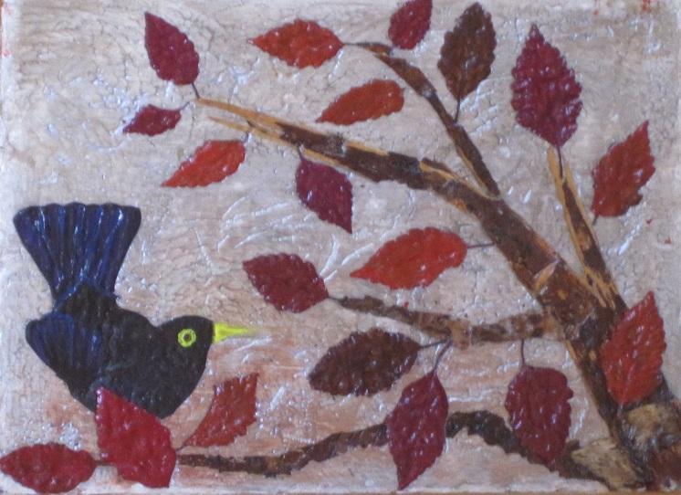 Actualité de NICOLE BOURGAIT THIERRY LE SET DES FLEURS 48. LE MERLE CHANTEUR Création s/bois - 24/33 cm