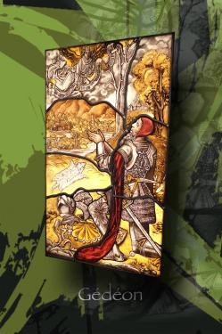 Gédéon (vitrail XVI s. Allemagne) 35 cm x 56 cm technique traditionnelle et peinture sur verre (grisaille et céments) verre blanc float