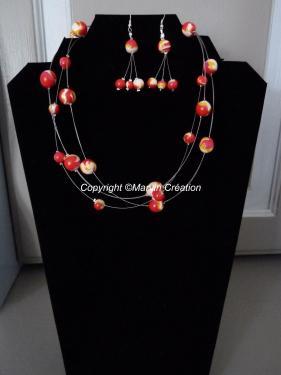Parure ( 45 cm) fil cablé, perles fimo(faites main) , rouge, blanc orange Réf: PA06142
