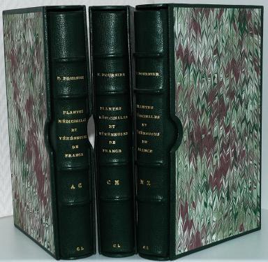 Fournier : Plantes médicinales Reliure chagrin vert, emboitage 3 tomes Dorure, feuille d'or 22 carats Papier marbré Marie-Anne Hamaïde