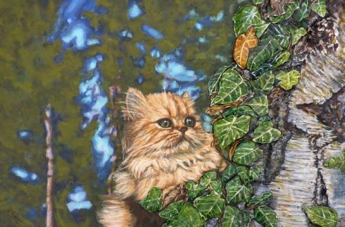 chat persan  tableau de peinture sculpté au mortier en 3D sur toile en vente sur mon site  www.virginie-trabaud.com/tableau-peinture-le-chat-persan-virginie-trabaud.html