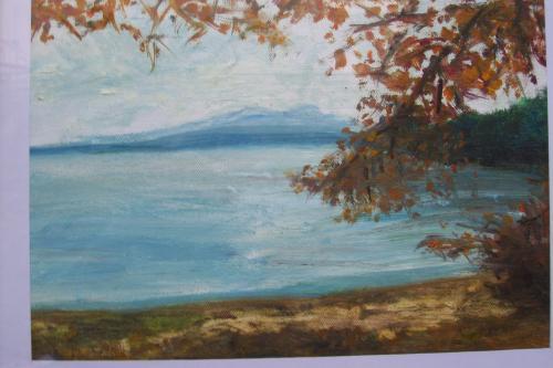 Le lac du po�te K.H.Macha, Boh�me, huile sur tole