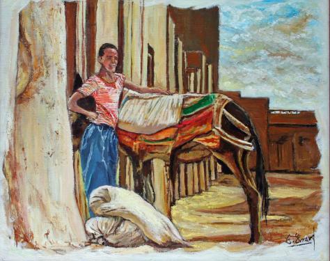 HUILE SUR TOILE 46X38 TITRE : LE JEUNE HOMME ET LE MULET (Zagora - Maroc)