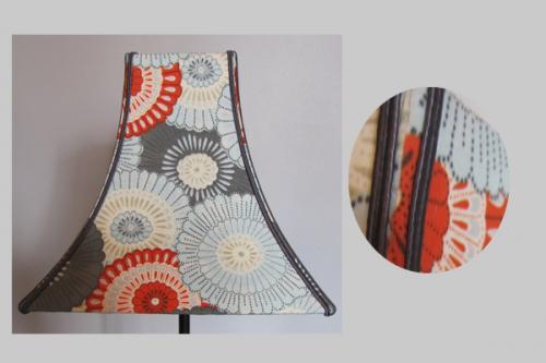 Pagode cintré de forme carré au style  japonais, recouvert d'un imprimé contrecollé. Chaque arête est souligné par une soutache au ton acier.
