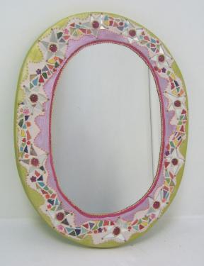 miroir mosaïque et peinture: