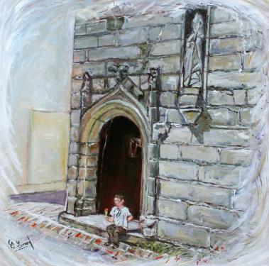 HUILE SUR TOILE 60X60 TITRE : GOURMANDISE (enfant devant une chapelle en Finistere)