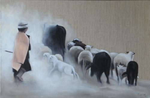 Huile sur toile en lin 30x60 cm: La petite bergère.
